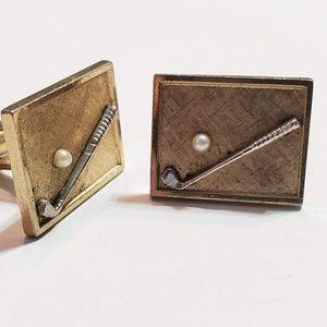 Accessories - Vintage Retro Gold Cuff Link set Golf